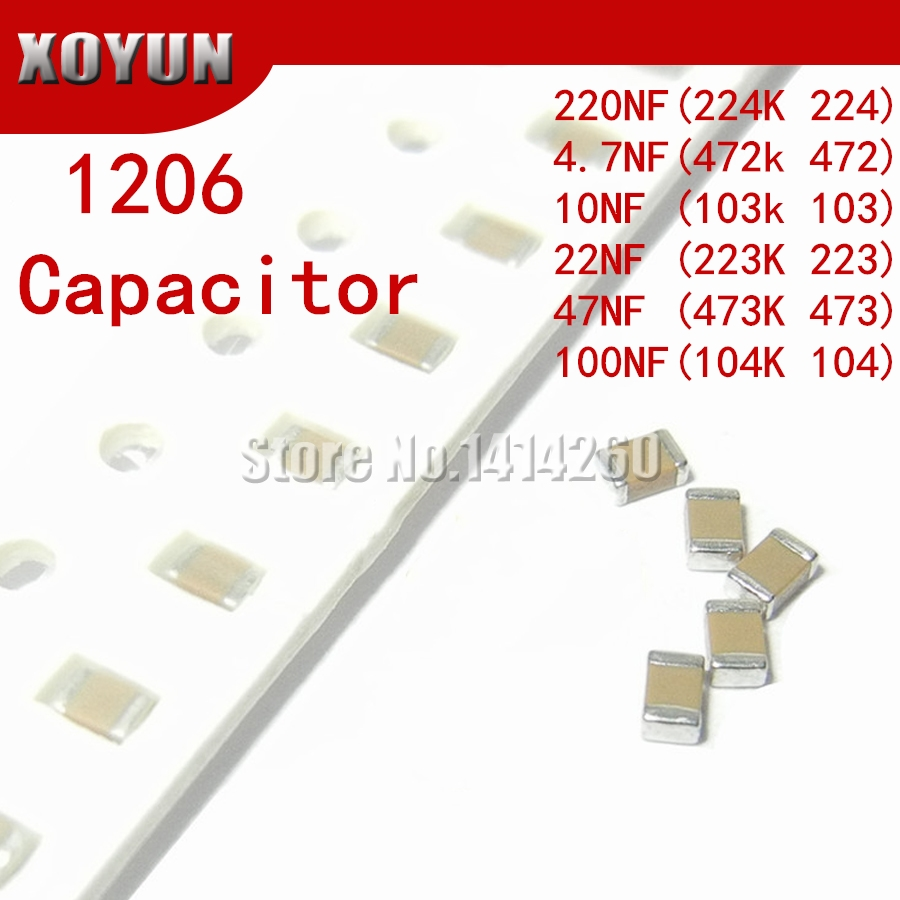 100 шт. 1206 10nF 103K 250V X7R Error 10% SMD керамический конденсатор MLCC 4.7NF 10NF 22NF 47NF 100NF 220NF 472 103 223 473 104 224