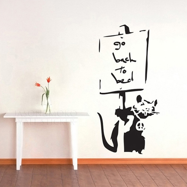 Banksy Style Go Back To Bed Rat Mouse Mice Note Cool Wall Stickers Decal  Mural Wallpaper Part 46