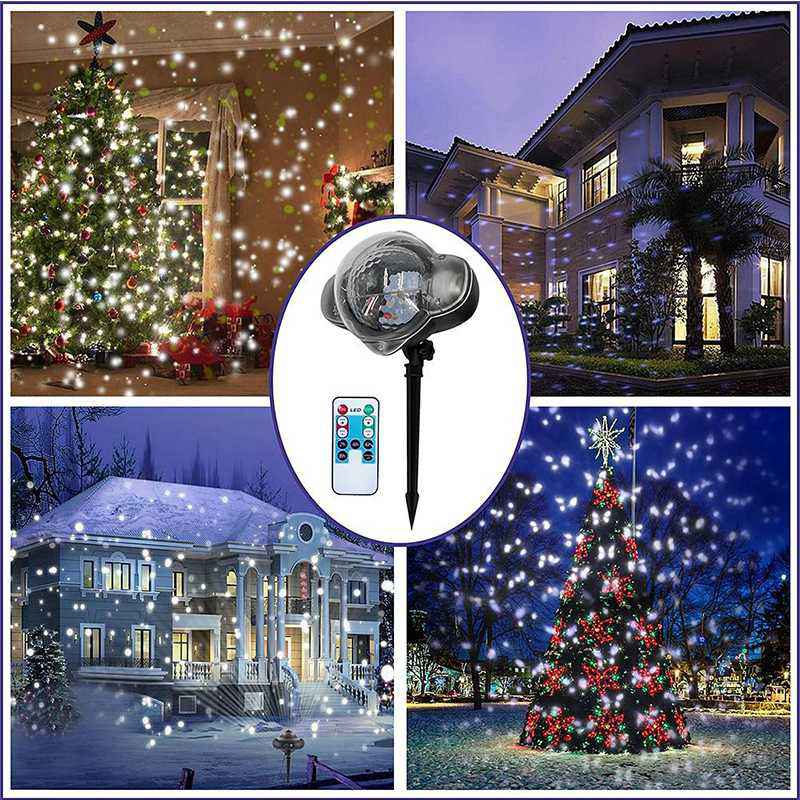 LED Mini Snow Projector Light Remote-control Waterproof Adjustable Lighting Decoration Projecteur Led Exterieur US/EU/UK/AU PlugLED Mini Snow Projector Light Remote-control Waterproof Adjustable Lighting Decoration Projecteur Led Exterieur US/EU/UK/AU Plug