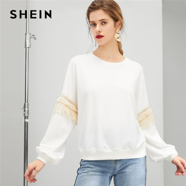 74c4261dbb SHEIN White Drop Shoulder Fringe Embellished Sweatshirt Casual Long Sleeve  Round Neck Pullovers Women Autumn Sweatshirts