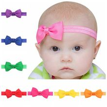 цена на 20Pcs/lot 2.8 Inch kids Small Bow Tie Headband DIY Grosgrain Ribbon Bow Elastic Hair Bands Hair Accessories 106