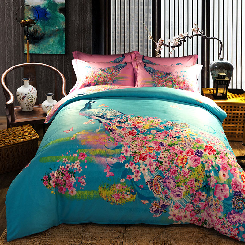 Chinese Peacock Floral Printed Bedding Set Full Queen King