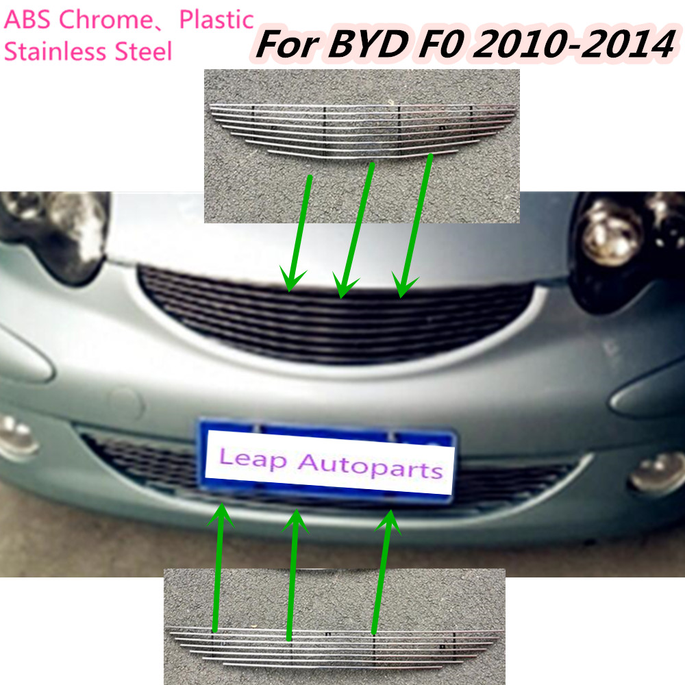 For BYD F0 2010 2011 2012 2013 2014 detector metal car body License plate trim racing Grid Grill Grille hoods panel frame racing grills version aluminum alloy car styling refit grille air intake grid radiator grill for kla k5 2012 14