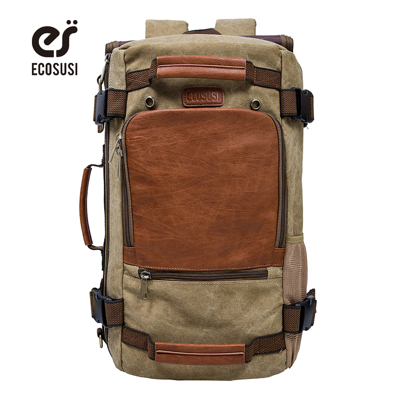 ECOSUSI Brand Men's Backpack Canvas Travel Backpacks Men Travel Bags Functional Laptop Backpack Functional Shoulder Bags