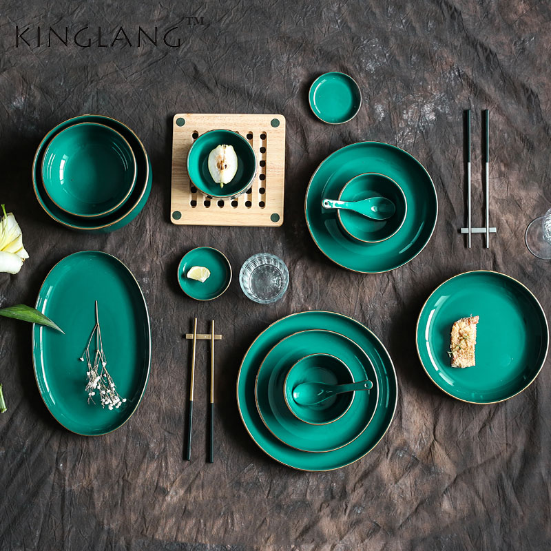 >Peacock green gold plate plate family dinner bowl combination soup bowl salad bowl <font><b>Nordic</b></font> light luxury <font><b>style</b></font>