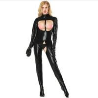 S 5XL Hot Sexy Women Exotic Costume Black Japanned Leather Jumpsuit Open Bust Bondady Latex Bodysuit Erotic Catwoman Catsuit
