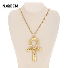 Egyptian Ankh Cross Necklace Jewelry Gold Color Metal Sacrifice Pendant & Chain Necklace For Men Women Egypt Cross Charm Gift(China)