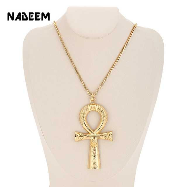Egyptian Ankh Cross Necklace Jewelry Gold Color Metal Sacrifice