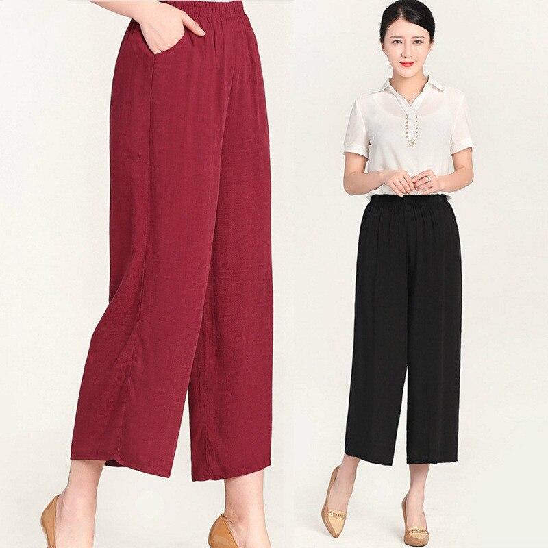 casual   pants   women   wide     leg     pants   High waist women   pants   summer women's   pants   thin elastic big size 5xl trousers women