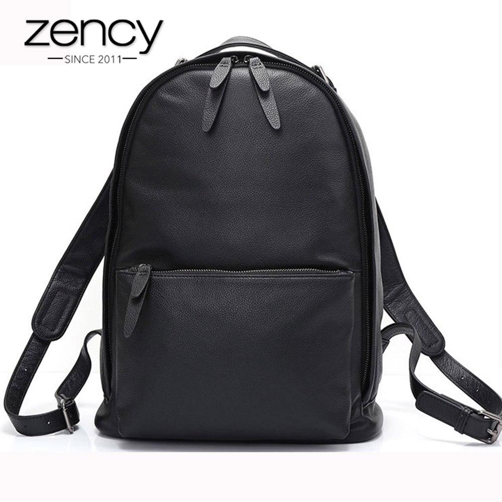 Zency Black Women Backpack 100 Genuine Leather Male Female Big Travel Bag Schoolbag Large Capacity Laptop