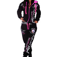 ZOGAA New Two Piece Sets Woman Joggers Suit Sets Sweatsuits for Women Long Suit Set Womens Tracksuit Printed Clothing