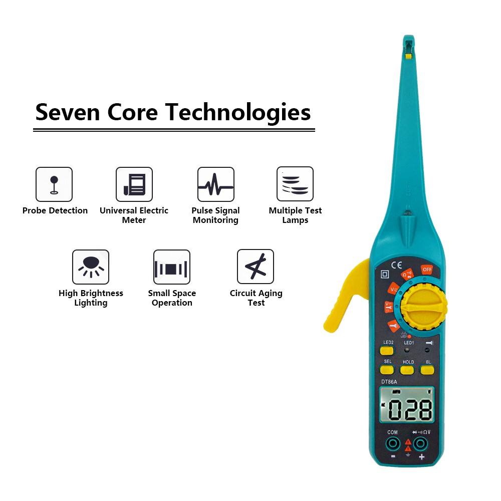 DT86A Multifunction LCD Display Automotive Vehicle Circuit Tester AC/DC 12V/24V Voltage Signal Tester With Resistor Diode Buzzer