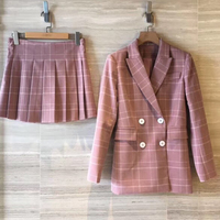 Pink and White Plaid Notched Blazers With Self Tie Skirt Womens Two Piece Sets 2019 Elegant 2 Piece Women Set