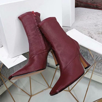 Модные носки ботильоны для женская обувь Острый носок высокий квадратный носок на толстом каблуке Botas Mujer Botte Femme Ботинки Челси женские