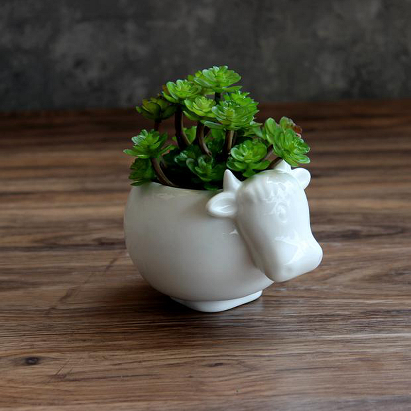 1pc Cute Cow White Keramisk Planter til Succulents Dekorative - Havevarer