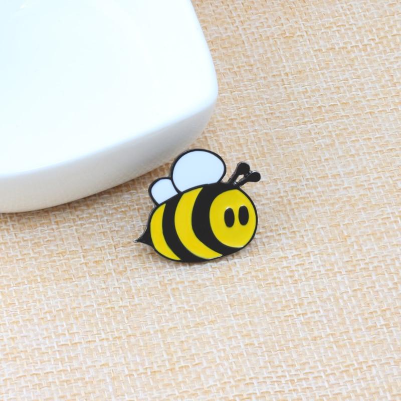 Модная брошь в виде мультяшной пчелы, насекомое, Детская Брошь, аксессуары для одежды, черная желтая эмалированная булавка, подарок на день ...