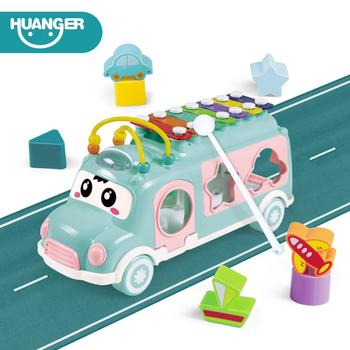 Huanger New Music Bus Toys Instrument Knocking piano Lovely beads Blocks Sorting Learning Educational Baby Toys for Children