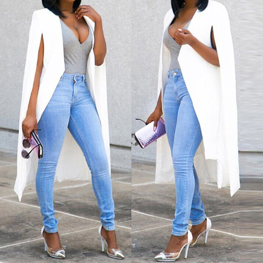 Ladies Blazers And Jackets Solid Loose Long Cloak Blazer Coat Cape Cardigan Jacket Trench Outwear Blazer Longo Feminino #13.99
