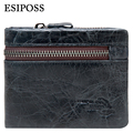 ESIPOSS Genuine Cowhide Leather Men Wallet Vintage Short Purses with Zipper Coin Pocket Famous Brand Designer Wallets for Men