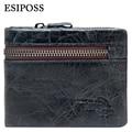 ESIPOSS Genuine Cowhide Leather Men Wallet Vintage Short Purses with Zipper Coin Pocket Famous Brand Designer Wallets for Men