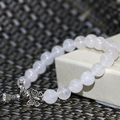 Wholesale price pretty strand bracelets natural white chalcedony jade 8mm round beads hot sale elegant jewelry 7.5inch B2044