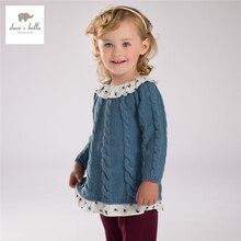 DB4125 дэйв bella baby девушки жаккардовые свитера рюшами свитер, пуловер детей