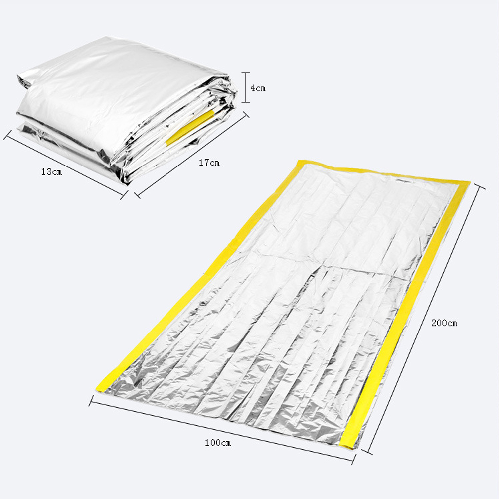 rescue emergent blanket survive thermal mylar lifesave first aid kit treatment camp warm heat dry keep foil bushcraft 200 100cm in camping mat from sports  [ 1001 x 1001 Pixel ]