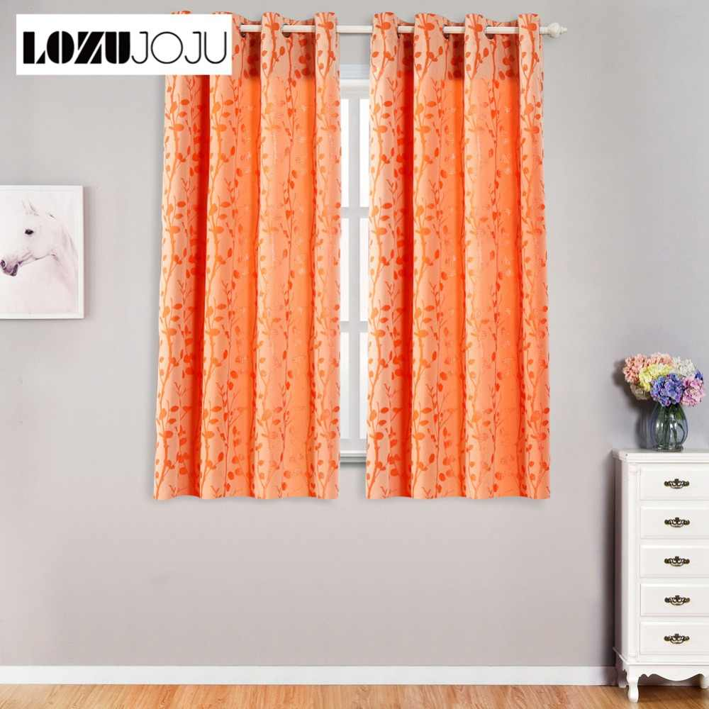 LOZUJOJU Short thread drops leaves pattern curtain for living room windows bedroom for kitchen door thick curtains fabrics