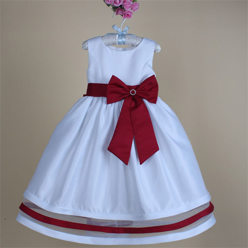 Attractive Flower Child Dress Big Bow Girl Party Sundress Top Quality Silk Ball Gown Dresses
