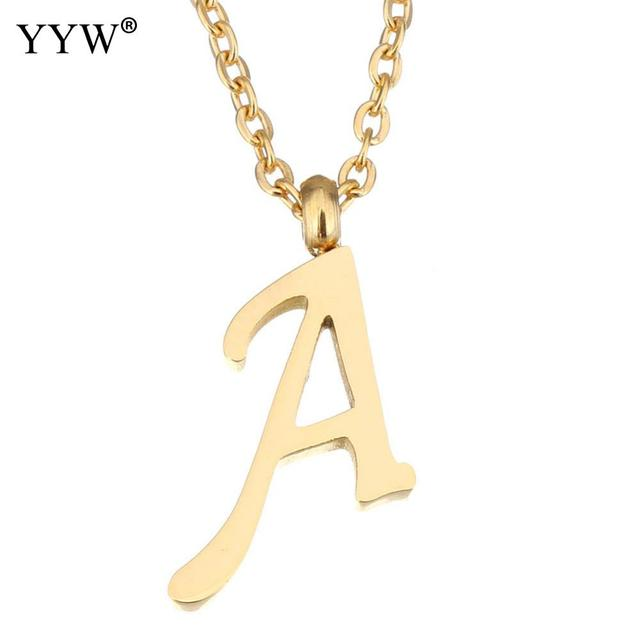 New fashion stainless steel letter necklaces pendants gold color new fashion stainless steel letter necklaces pendants gold color alfabet initial choker necklace women jewelry kolye mozeypictures Images