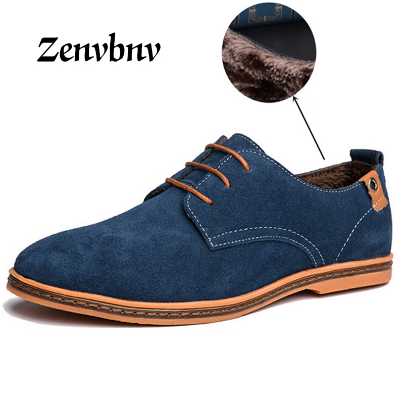 ZENVBNV Brand 2017 Minimalist Design Genuine Suede Leather Men Casual Shoes winter Keep warm Style Oxford Shoesn Plus size 48 top brand high quality genuine leather casual men shoes cow suede comfortable loafers soft breathable shoes men flats warm