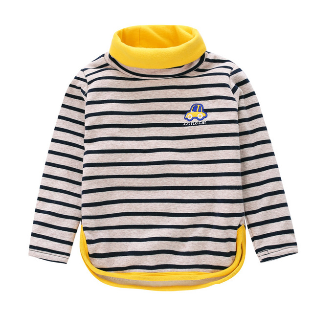 Kids Clothes Winter Baby boys T-shirts Plus Velvet Turtleneck top tees Children's Striped T-shirt cartoon car cotton Sweatshirt