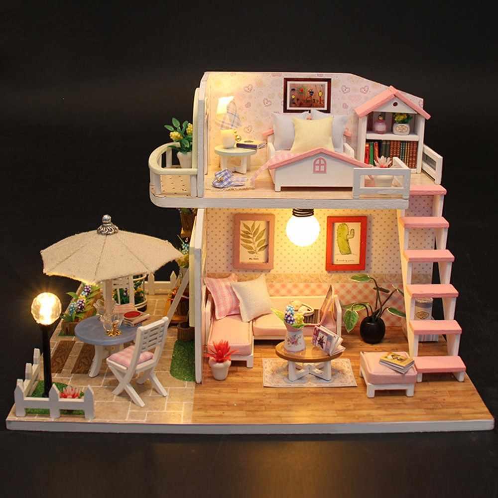 DIY Кукольный дом миниатюрная мебель деревянные кукольные домики миниатюрный кукольный домик Балконная мебель набор игрушек для детей Рождественский подарок