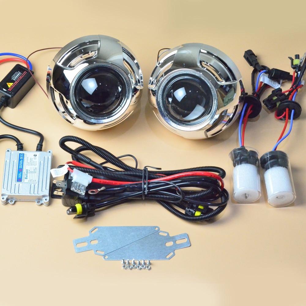 Auto Light Kit 3 inch Bifocal Koito Q5 Projector Lens,Ballast HID Xenon Bulb,hi lo Beam Control Cable,for H1 H4 H7 H11 9005 9006