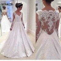 Vestido De Noiva 2018 Vintage Wedding Dress Lace A Line Long Sleeves Cap Shoulder Bridal Gown Casamento Mariag Plus Size