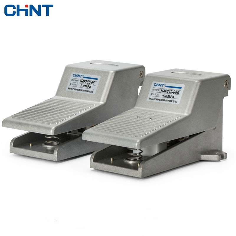 CHINT Foot Valve Foot Valve Switch Pneumatic Foot Switch Two Five-way 4F210-08 2 With Self-locking chint hand slide valve pneumatic slide switch break up push valve hand control