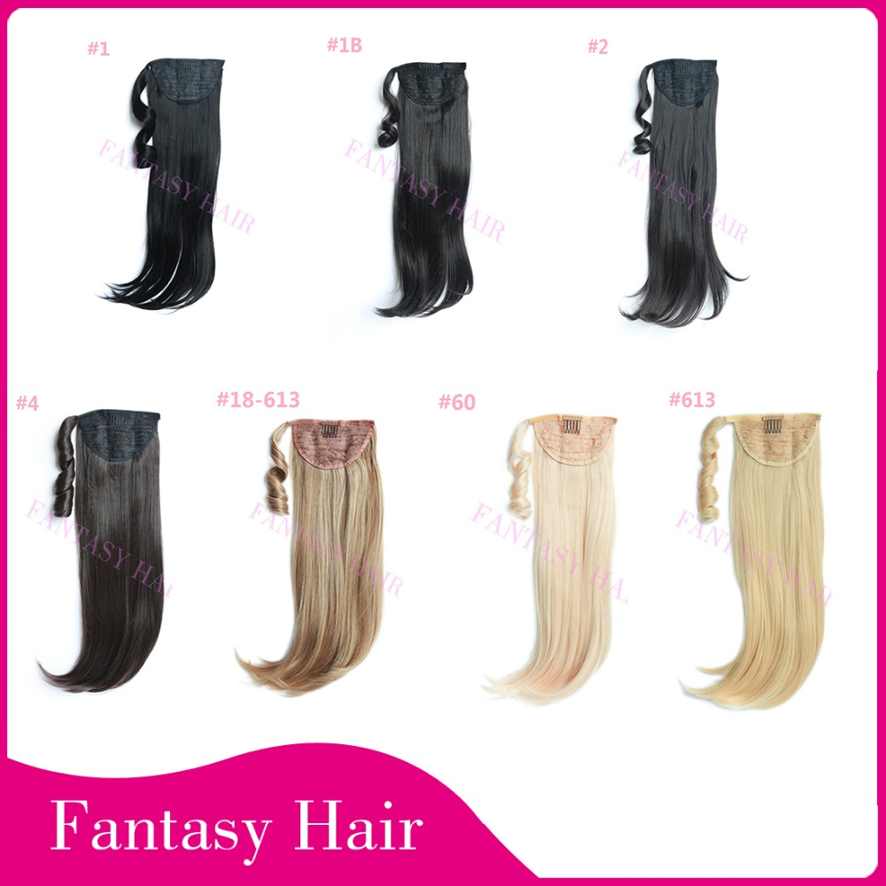 Heat Resistant High Quality Blonde Long Straight Synthetic Ponytail