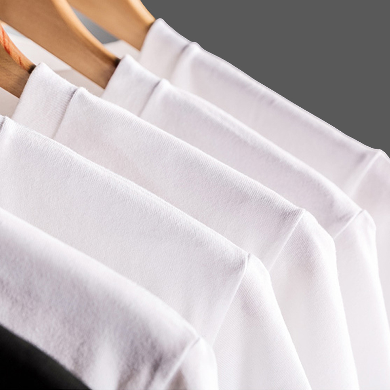Summer Sleeves Casual O-Neck Short Walk The Moon Cotton Shirts For Men