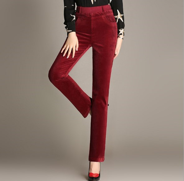 9e06132f548 Spring Autumn Fashion High Waist Casual Pants Corduroy Pants Straight Trousers  Stretch Slim Large Size 6XL Black Red Khaki Green