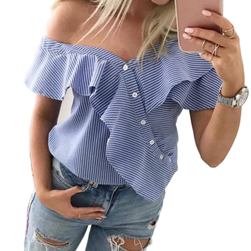chic women blouse new female ladies clothing womens stried sexy summer autumn printed top shirt