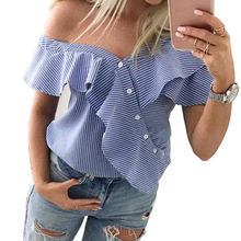 chic women blouse new female ladies clothing womens stried sexy summer autumn printed top shirt top