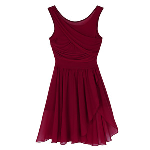 Image 3 - נשים מבוגרים בנות בלט רוקד שמלות ללא שרוולים לגזור אסימטרית שיפון נמתח בלט ריקוד התעמלות בגד גוף שמלה