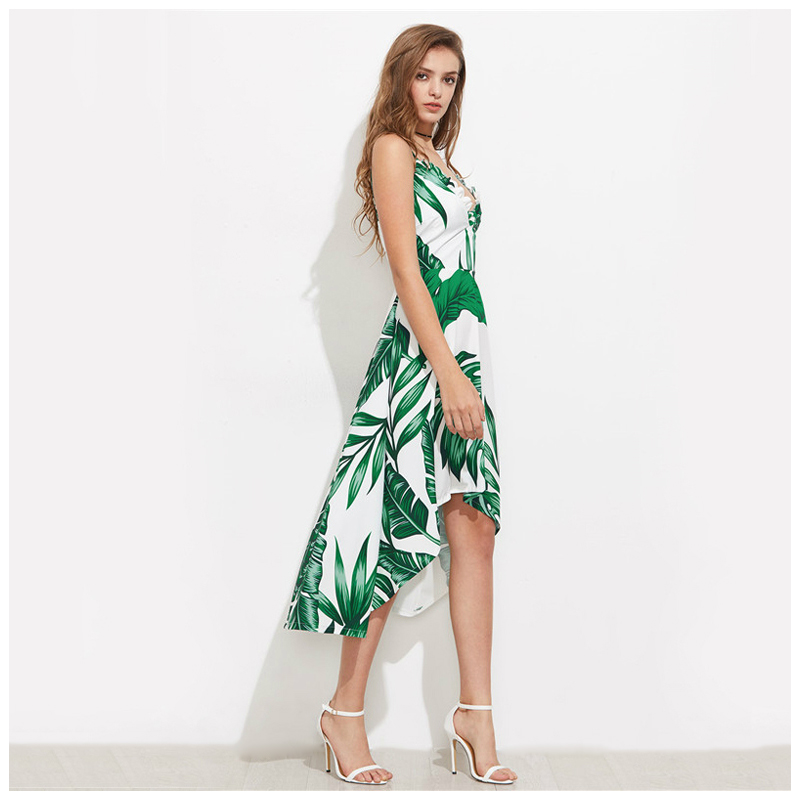 MYPF-Women Green Palm Leaf Banana Leaf Print Summer Beach Dress Green V-Neck Ruffle Trim Women Elegant Dresses New Dip Hem Hol