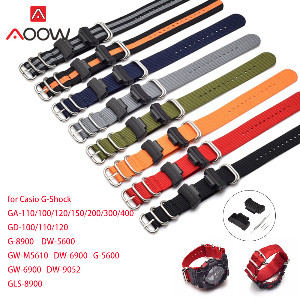 NATO Nylon Leather Watchband For Casio G-Shock GA-110 120 GA-100 DW-5600 GD-100 Zulu Strap Bracelet Band With Adapters