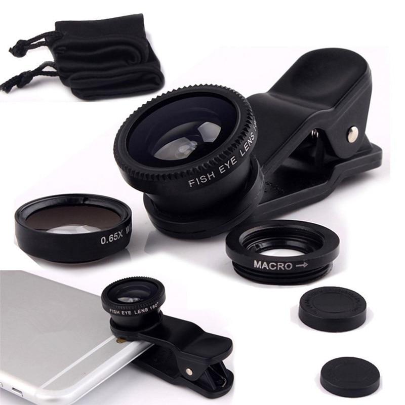 Fisheye Lens 3 in 1 mobile phone clip lenses fish eye wide angle macro camera lens for iphone 6s plus 5s/5 xiaomi huawei lenovo
