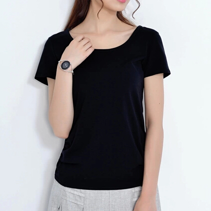 Summer round neck short sleeve casual tops tee solid color Womens black tee shirt