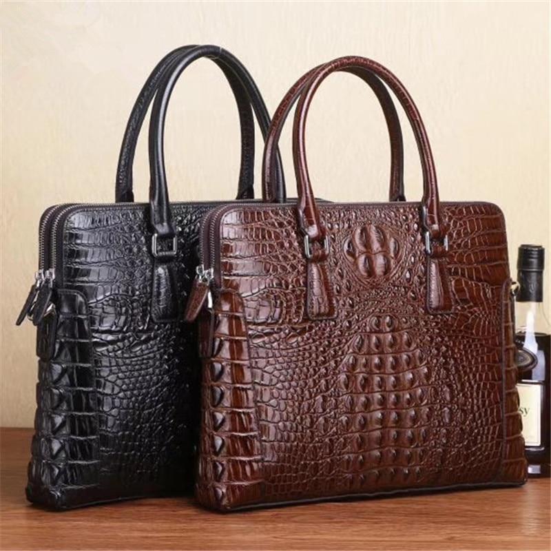Kaisiludi Leather Bag Handbag Briefcase Business Crocodile Pattern Cowhide Double Pull Computer Shoulder Oblique Satchel