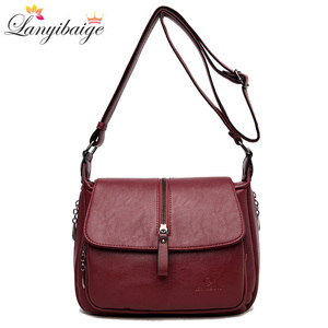 Image 1 - Women shoulder messenger bag sheepskin high quality casual shoulder bags solid zipper colors fashion handbag bag Bolsa Feminina