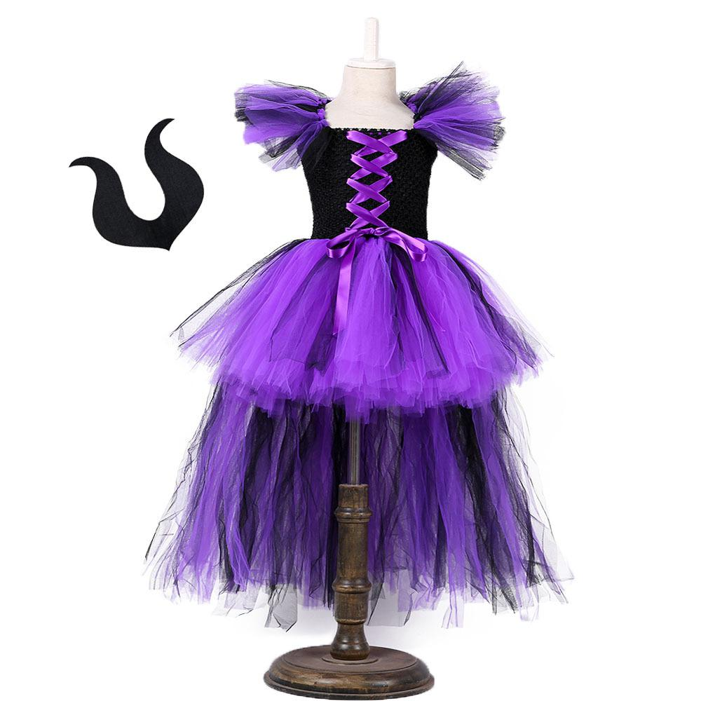 Halloween Sleepy Spell Dress Girls Dark Tutu Skirt Children Performance Party Halloween Cosplay Costumes Mori fairy Devil Witch