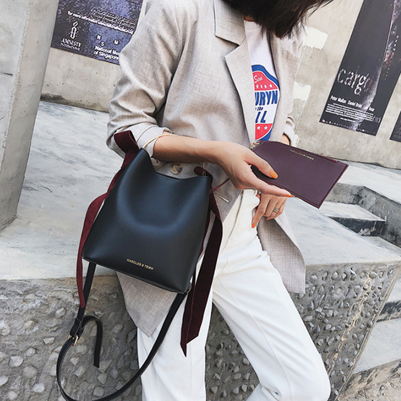 2018 Autumn New Arrival Women Designer PU Leather Shoulder Bags Bucket Handbag Concise Totes Lady Quality Satchel Crossbody Bag women bag fashion casual totes bag 2 sets for girls pu leather handbag designer women s shoulder messenger bags lady bucket bag
